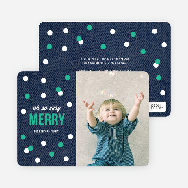 Holiday Cards: Circles, Confetti or Ornaments - Green