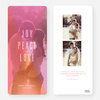 Joy, Peace, Love Portrait Holiday Cards - Pink