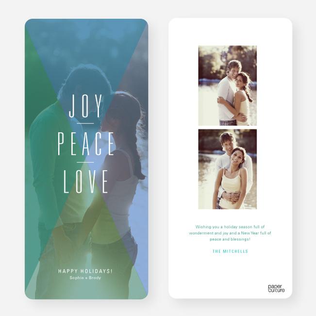 Joy, Peace, Love Portrait Holiday Cards - Green