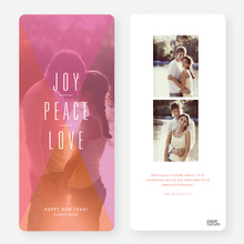 Joy, Peace, Love Portrait New Year's Cards - Pink