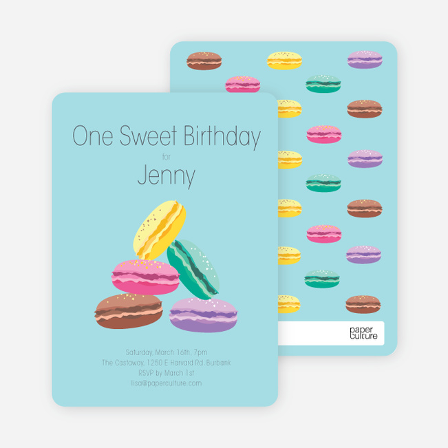Macaron Party Invitations - Blue
