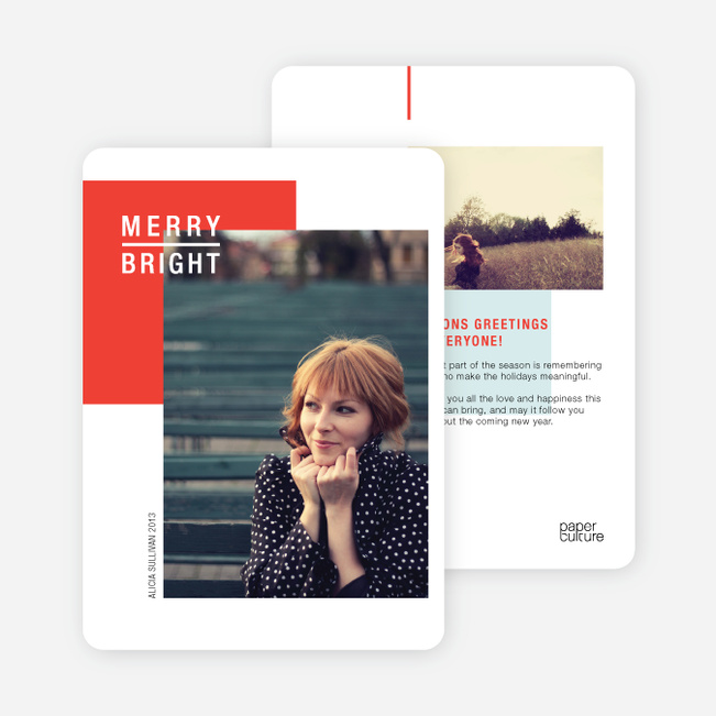 Merry and Bright Seasons Greetings - Red