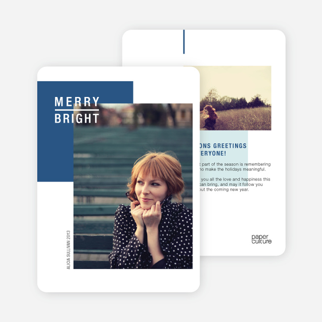 Season's Greetings Cards: Merry & Bright - Blue