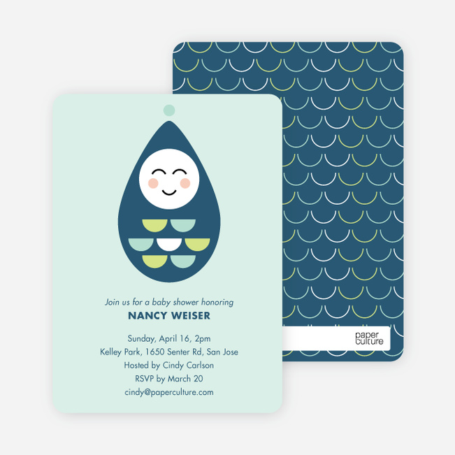 Modern Pea in the Pod Baby Shower Invitations - Blue