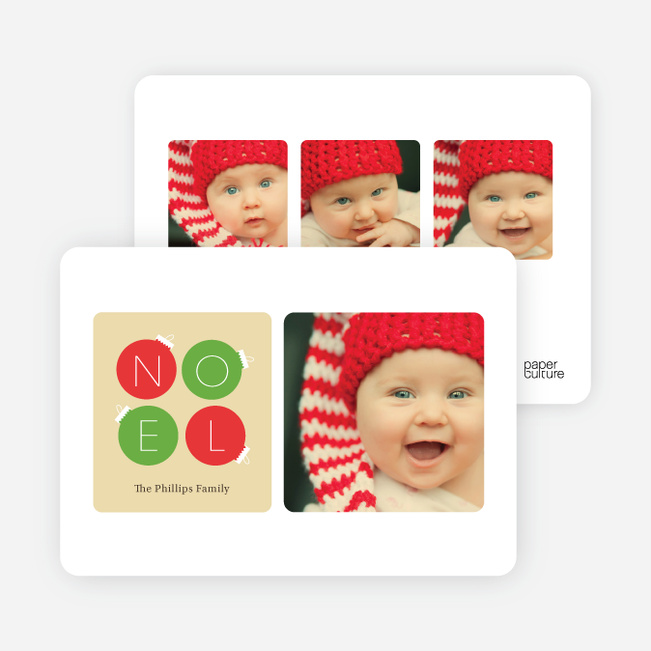 Noel Ornaments Christmas Photo Cards - Green