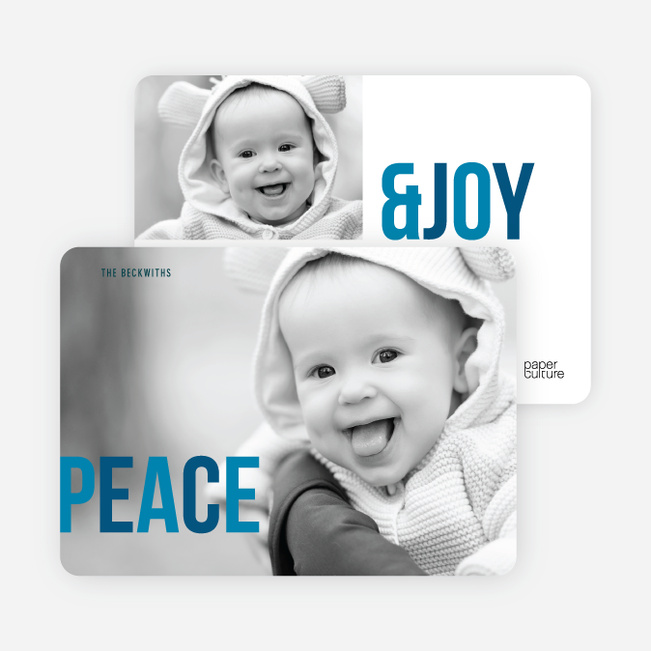 Holiday Photo Cards: Peace & Joy - Blue
