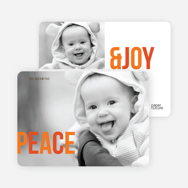 Holiday Photo Cards: Peace & Joy - Orange
