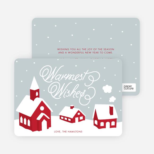 Peaceful Village Winter Wonderland: Warmest Wishes - Red