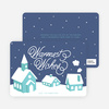 Peaceful Village Winter Wonderland: Warmest Wishes - Blue