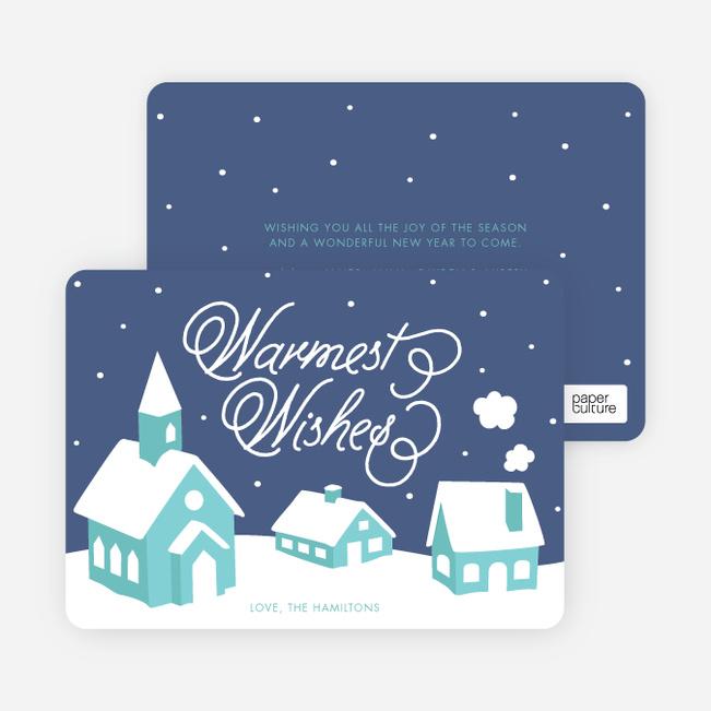 Peaceful Village Winter Wonderland: Warmest Wishes - Blue