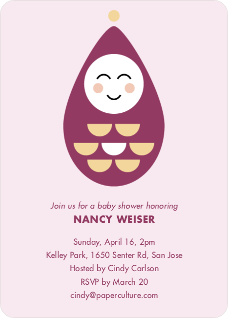 Modern Pea in the Pod Baby Shower Invitations - Pink