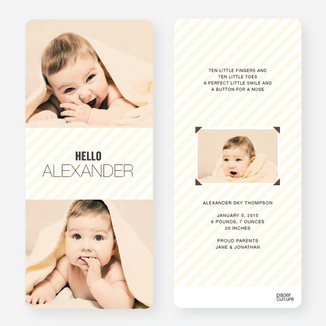Holiday Cards: Soft Stripes - Yellow
