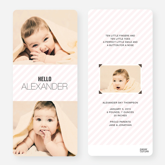 Holiday Cards: Soft Stripes - Pink
