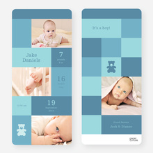 Birth Announcements: Teddy Bear Squares - Blue