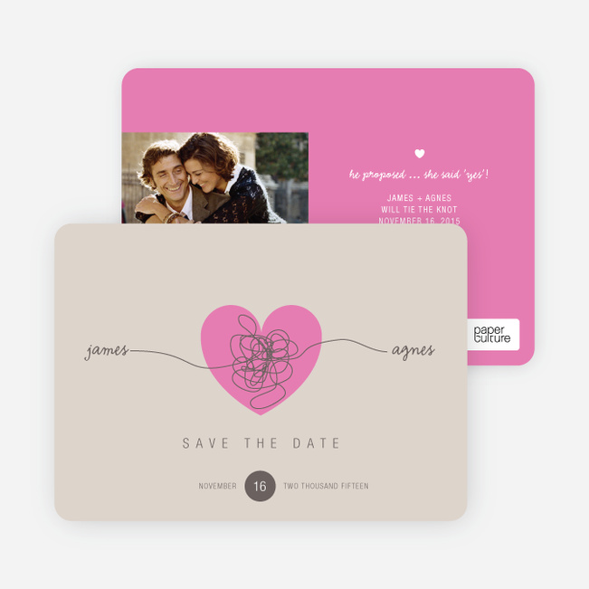 Tying the Knot Save the Date Cards - Pink