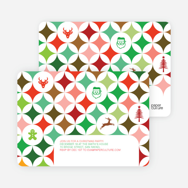 X–Mas Icon Holiday Party Invitations - Multi