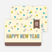 Balloon & Party Ball New Year's Cards - Mocha