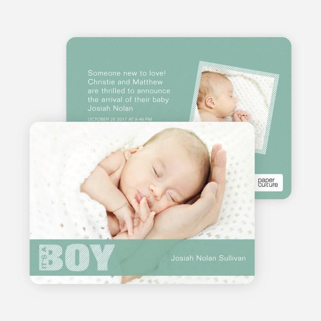 Boy Color Stripe Photo Baby Announcements - Light Green