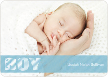 Color Stripe Photo Announcement: Boy - Baby Blue