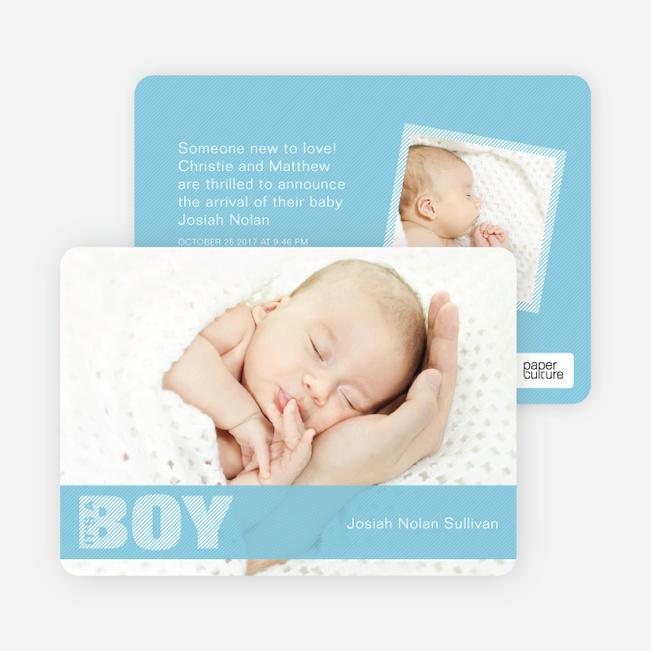 Boy Color Stripe Photo Baby Announcements - Baby Blue