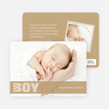 Color Stripe Photo Announcement: Boy - Beige