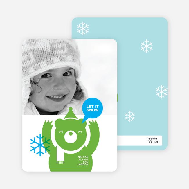 Holiday Photo Cards: Burt the Bear - Apple Green