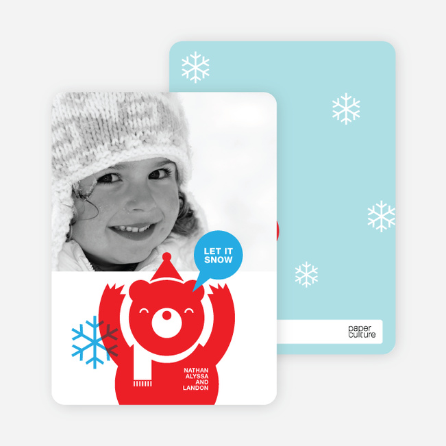 Holiday Photo Cards: Burt the Bear - Fire Engine Red