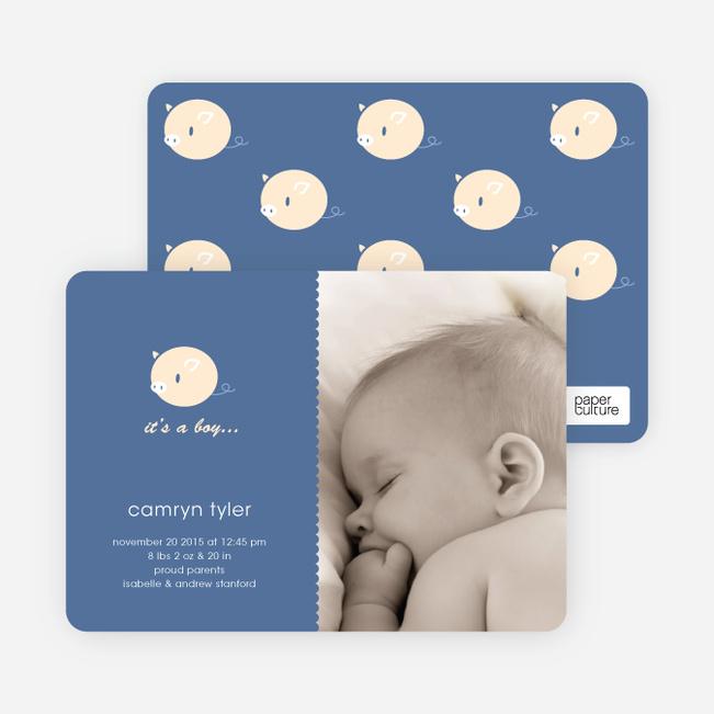 Darn Cute Piggy Baby Announcement - Steel Blue
