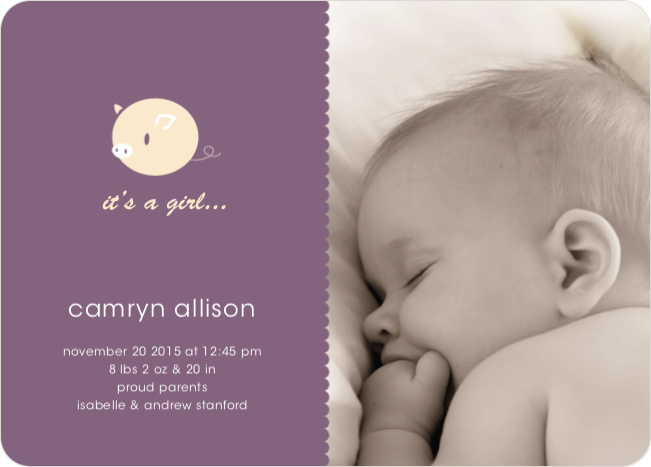 Darn Cute Piggy Baby Announcement - Plum