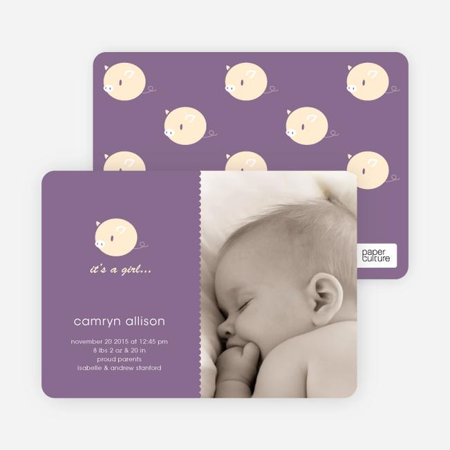Darn Cute Piggy Baby Announcement - Plum