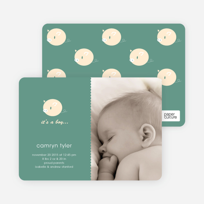 Birth Announcements with a Darn Cute Piggy - Sea Green