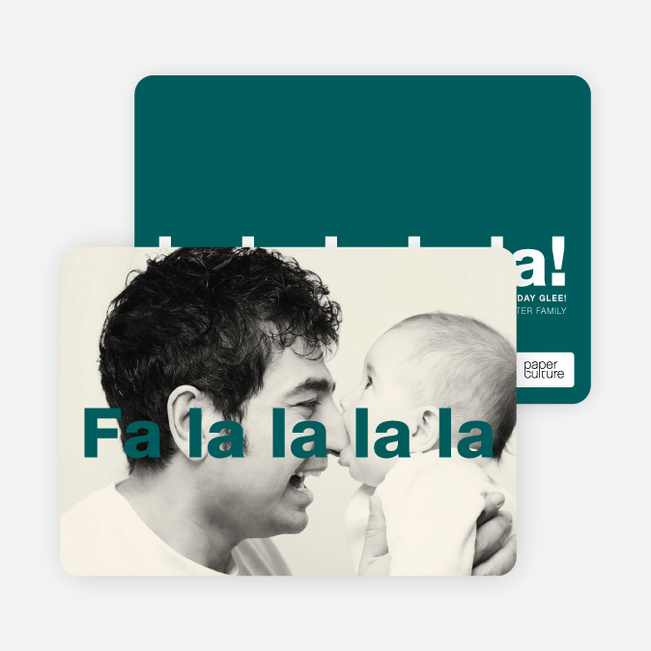 Fa-la-la-la-la: Deck the Halls or Diction Holiday Photo Cards - Blue