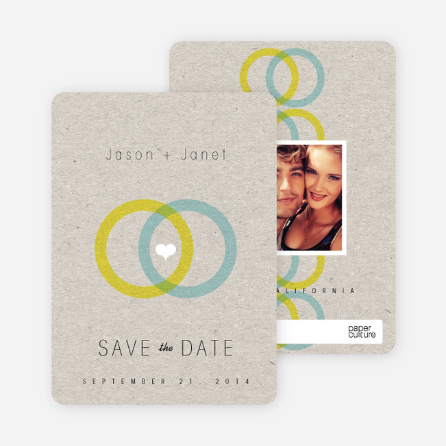 Interlocking Rings Save the Date Cards - Yellow