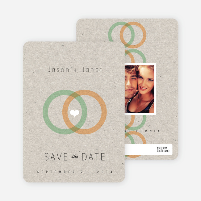 Interlocking Rings Save the Date Cards - Green