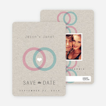 Interlocking Rings Save the Date Cards - Pink