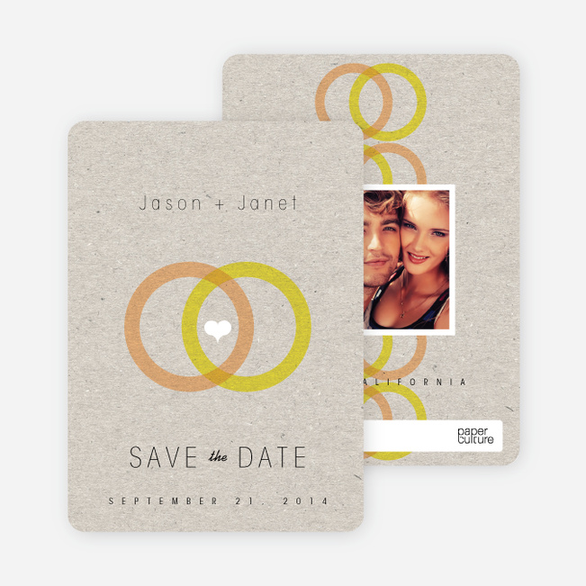 Interlocking Rings Save the Date Cards - Orange