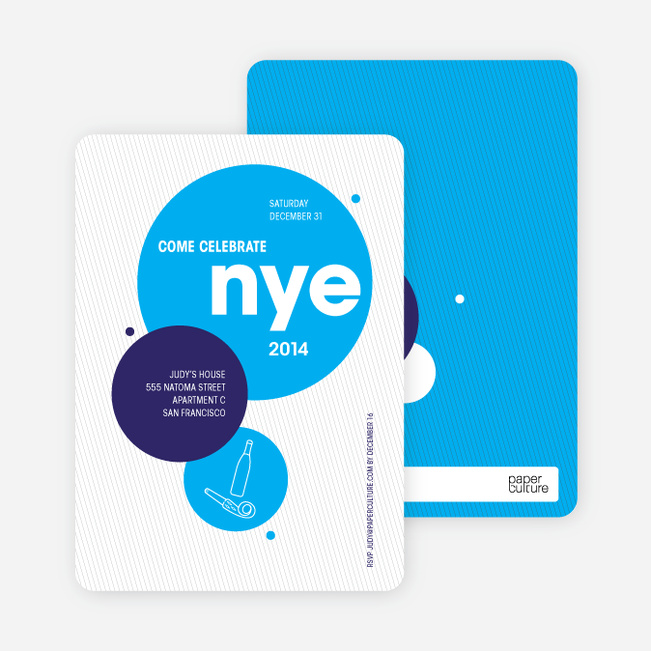 New Year's Eve Party Invitations - Sky Blue