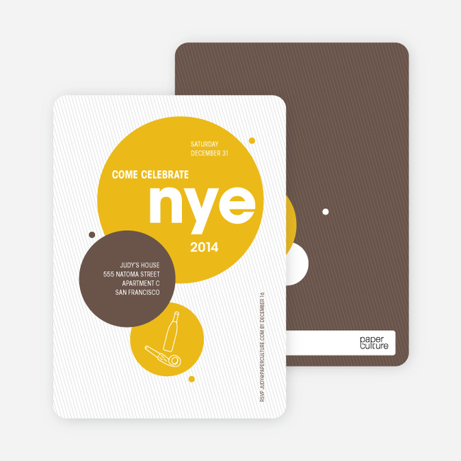 New Year's Eve Party Invitations - Mustard Yellow