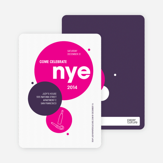 New Year's Eve Party Invitations - Magenta