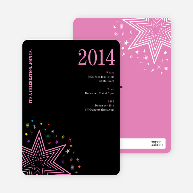 Starburst New Year's Invitations - Cotton Candy