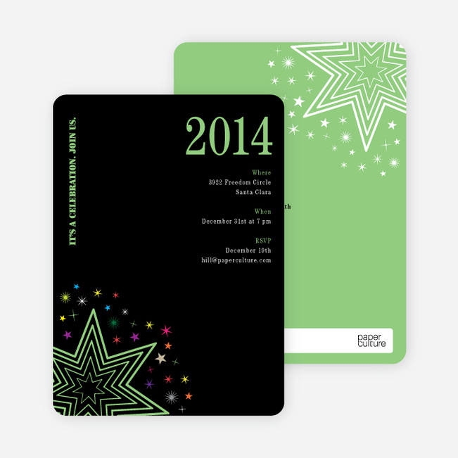 Starburst New Year's Invitations - Basil