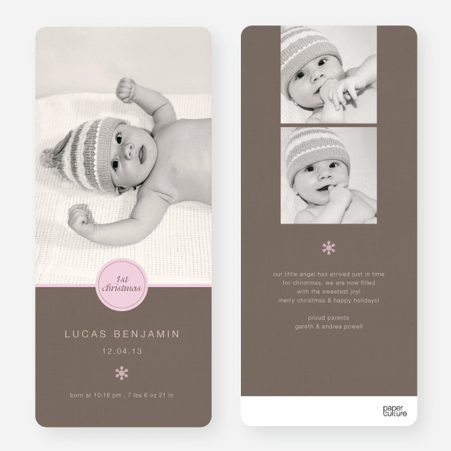 Circle Seal Holiday Birth Announcements - Pink