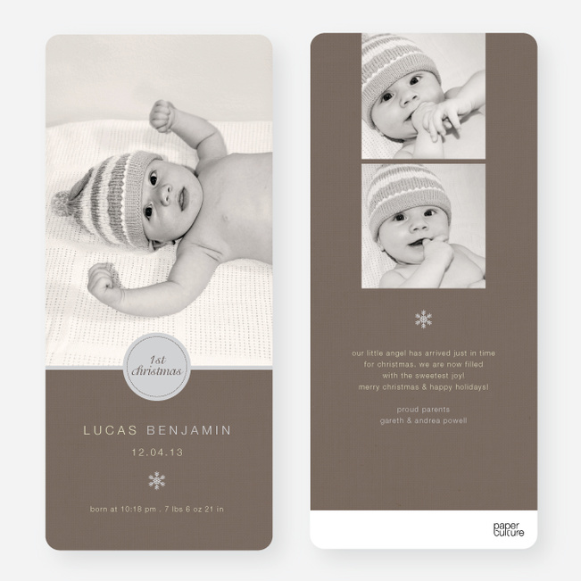 Christmas Birth Announcements: Circle Seal - Gray