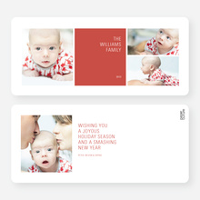 Colorful Blocks Holiday Photo Cards - Red