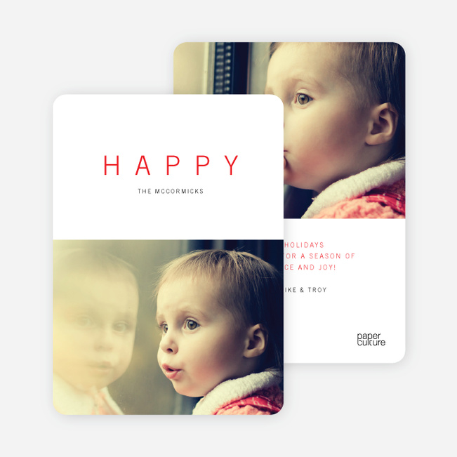 Simply Happy Holiday Cards - Red