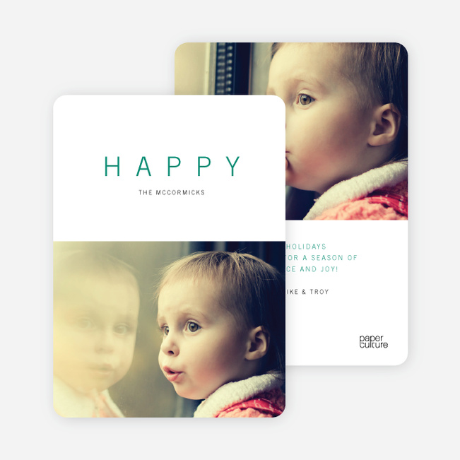 Simply Happy Holiday Cards - Green