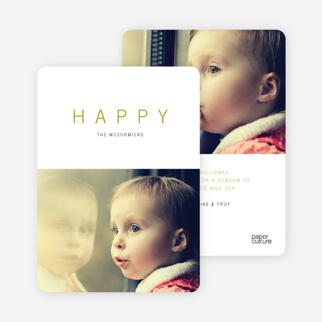 Simply Happy Holiday Cards - Yellow