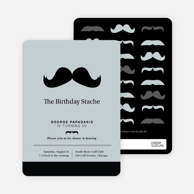 Movember Mustache Party Invitations - Black