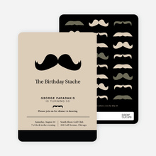 Movember Mustache Invitations - Brown