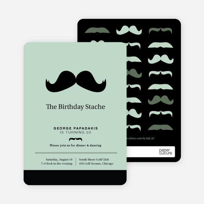 Movember Mustache Party Invitations - Green